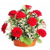 Nostalgy - Cos cu trandafiri si gypsophila