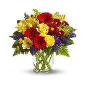Parada Florilor – Buchet din trandafiri, gerbera, alstroemeria si crizanteme