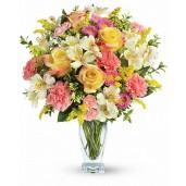 Rainbow - Buchet din trandafiri, garoafe, crizanteme