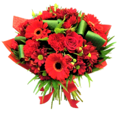 Romanta fara sfarsit - Buchet cu trandafiri, gerbera si crizanteme