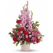 Roz Angelic - Cos cu gladiole, alstroemeria, garoafe si aster