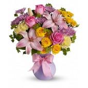 Smile - Buchet din trandafiri, crini si crizanteme