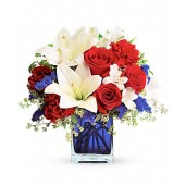 Summer Elegance – Aranjament din trandafiri, garoafe, crin si alstroemeria