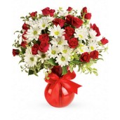 Super Star Deluxe - Buchet minirosa rosie si crizanteme
