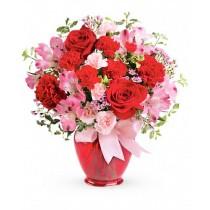 Charisma - Buchet trandafiri rosii, garofite, alstroemeria, garoafe