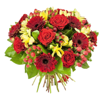 My dear - Buchet din trandafiri, gerbera si alstroemeria