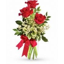 Perfect trio - Buchet de 3 trandafiri rosii