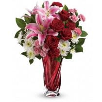 Sensation  - Buchet din trandafiri, crini, crizanteme si garoafe