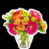 Viva la Vida – Buchet cu gerbera, trandafiri si crizanteme