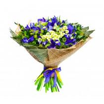 Blue Dream – Buchet din irisi si crizanteme