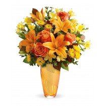 Buchet cu trandafiri, crini si crizanteme - Roflora