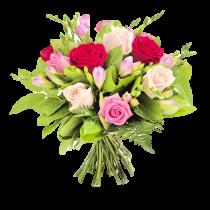 Primavara Mov - Buchet din trandafiri si frezii