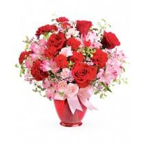 Charisma Deluxe - Buchet trandafiri rosii, garofite, alstroemeria, garoafe