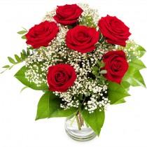 Classic Summer – Buchet din 6 trandafiri rosii