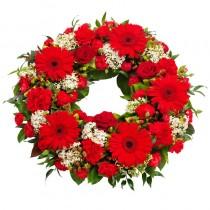 Coroana funerara cu trandafiri, gerbera si garoafe