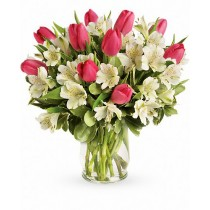 Crystal Blush Deluxe - Buchet lalele roz si alstroemeria