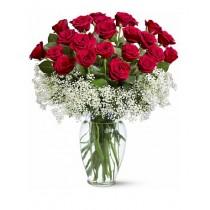 Duet Suav – Buchet din 21 trandafiri rosii si gypsophila