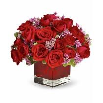 Focul inimii – Aranjament din trandafiri rosii
