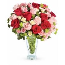 Forever Yours– Buchet din trandafiri rosii, roz si albi