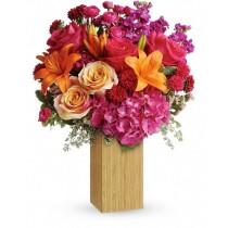Fucsia Joy - Buchet din hortensii, crini, trandafiri