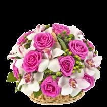 Gorgeus - Cos cu trandafiri si orhidee
