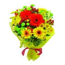 Happy day! - Buchet din gerbera si crizanteme