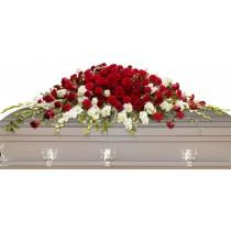 Hope and Honor - Aranjament din trandafiri, garoafe rosii si gladiole albe