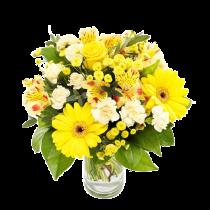 Mesaj Floral – Buchet cu gerbera, garofite si alstroemeria