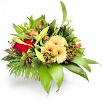 Nice to Meet You  – Buchet din gerbera, alstroemeria si trandafiri