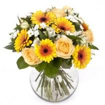 Perfect Sunshine - Buchet din trandafiri si gerbera