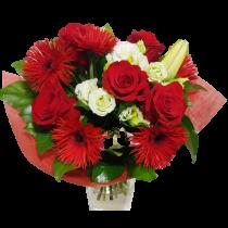 Buchet cu flori albe si rosii