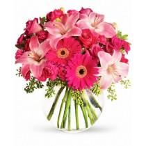 Pink Armony - Buchet din gerbera, crini si minirosa
