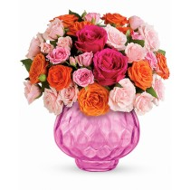 Pure Joy – Buchet cu trandafiri roz si portocalii