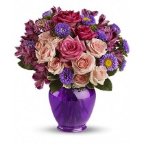 Purple shine - Buchet din trandafiri, crizanteme si alstroemeria
