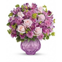 Rasfat cu lavanda  Deluxe - Buchet din trandafiri, alstroemeria si crizanteme