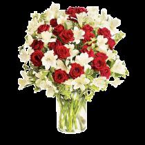 Red and White Surprise Deluxe - Buchet minirosa rosie si alstroemeria