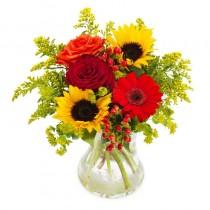 Serenada Culorilor – Buchet cu trandafiri, gerbera si floarea soarelui