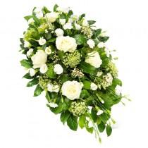 Sincerely – Coroana funerara cu trandafiri, eustoma si garofite