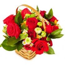So romantic - Cos cu trandafiri si crizanteme