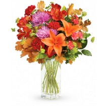 Warm Fall - Buchet din crizanteme, crini, garoafe, garofite si alstroemeria