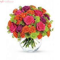 Zambeste pentru mine - Buchet din trandafiri, minirosa, crizanteme si garoafe