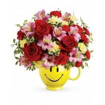 Zambetul Iubirii – Buchet din trandafiri, alstroemeria si garoafe