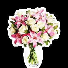 Cu Aroma de Iubire – Buchet cu trandafiri si crini