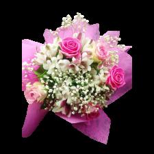 Buchet din trandafiri si alstroemeria