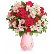 L'amour toujours – Buchet din trandafiri, alstroemeria si garoafe