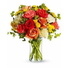 Amurg – Buchet cu trandafiri si crizanteme