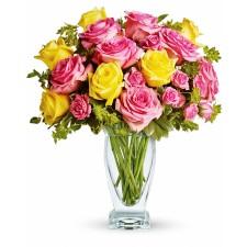 Duo Perfect – Buchet din trandafiri roz si galbeni
