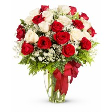 Ensemble– Buchet din 25 trandafiri albi si rosii