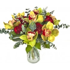 Exotic Rubin - Buchet din orhidee imperiala si garoafe