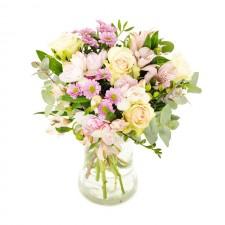 Gingasie la plural – Buchet din trandafiri, alstroemeria si crizanteme
